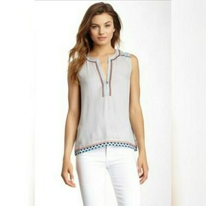 Lovestitch sleeveless embroidered  top MED NWOT